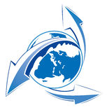 Earth with arrows blue icon Stock Photography