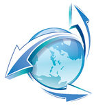 Earth with arrows blue icon Stock Images