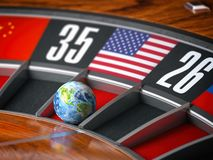 Earth as a ball of casino roulette with american USA flag in winning number. Time of world leadership of USA and winning in world stock illustration