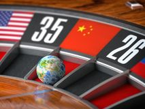 Earth as a ball of casino roulette with  flag of China in winning number. Time of world leadership of China and winning in world. Trade war concept, 3d vector illustration