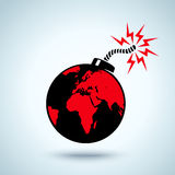 Earth as a bomb. Illustration of Earth as a bomb Stock Image