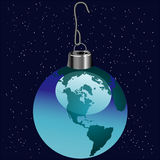 Earth as Christmas ornament Stock Photo