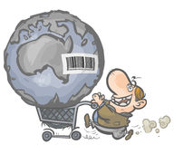 The Earth as a commodity a in a shopping cart. Cartoon allegory of the consumer people Royalty Free Stock Photography