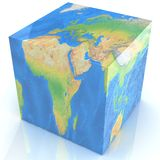 Earth as a cube isolated on white Royalty Free Stock Photo