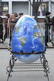 Earth as Easter. Egg in the town square on Easter. Urraine, Kharkiv, on April, 4 2010 royalty free stock images