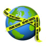 Earth As Global Crime Scene. An illustration featuring the planet Earth wrapped in yellow crime scene tape Stock Photography
