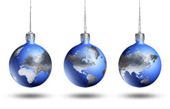 Earth as isolated christmas bauble. Earth as isolated christmas baubles on white background, showing variuos continents Stock Image