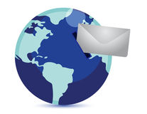 Earth as post box for global email Stock Photo