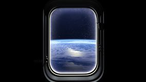 The flight of the spaceship over the Earth. Earth as seen through window of spaceship, Space, earth, orbit. 3D rendering. Nasa. Stock Image