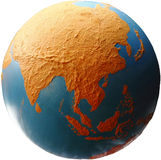 Earth Asia. A cut out image of a globe showing continent Asia royalty free stock images