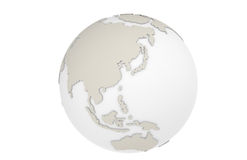 The Earth Asia Map. The Earth isolated on white showing:  Japan, Asia, China, Russia, Thailand Stock Photo