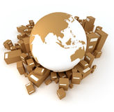 Earth Asia oriented with packages. Earth Asia oriented surrounded by packages Royalty Free Stock Photos