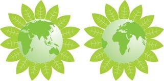 Earth_Asia verde y África Fotografía de archivo