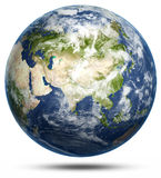 Earth - Asia white isolated. Earth globe model, maps courtesy of NASA Royalty Free Stock Images