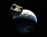 Earth and Asteroid Royalty Free Stock Photo
