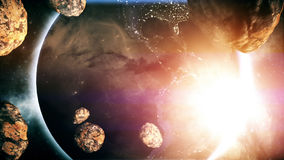 Earth With Asteroids. Made in Computer Graphics Royalty Free Stock Photo