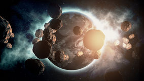 Earth With Asteroids. Made in Computer Graphics Royalty Free Stock Photos