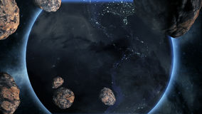 Earth With Asteroids. Made in computer graphics Stock Photography