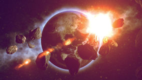 Earth With Asteroids. Made in Computer Graphics Royalty Free Stock Images