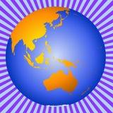 Earth Australia-New Zealand-Asia. Planet Earth showing Australia, New Zealand, Asia and the South Pole vector illustration