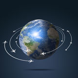 Earth Aviation Background. Global aviation background with airplanes over the earth Stock Photography