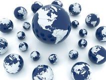 Earth Background. Shiny earth globes placed randomly on white background Royalty Free Stock Photo