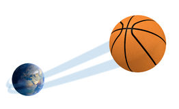 Earth With Ball Swoosh Isolated Royalty Free Stock Image