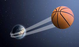 Earth With Ball Swoosh In Space Stock Photos