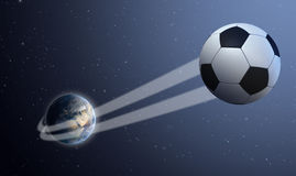 Earth With Ball Swoosh In Space Stock Photo
