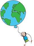 Earth balloon. Child holding on to an earth balloon stock illustration