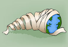 Earth with bandage. Illustration of earth wrapped like as mummy Royalty Free Stock Photos