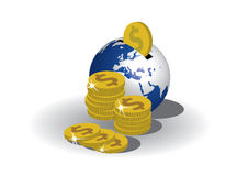 Earth bank and dollars Royalty Free Stock Images