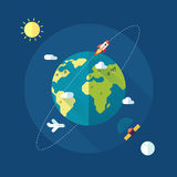 Earth banner with sun, moon, stars and space Royalty Free Stock Photography