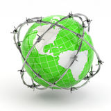 Earth and barbed wire. Conceptual image. Royalty Free Stock Photos