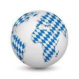 Earth with Bavarian flag as a symbol for the Oktoberfest Royalty Free Stock Photos