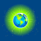Earth Beam America Continents Stock Photos