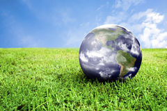 Earth in beautiful green grass Stock Photos
