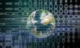 Earth behind a digital grid Stock Image