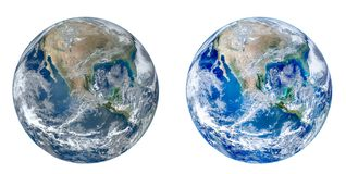Planet Earth Globe view from space isolated on white background.