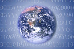 Earth with binary code Stock Images
