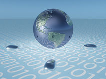 Earth with binary code and mice Royalty Free Stock Photography