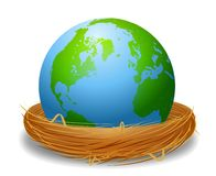 Earth In A Bird's Nest Royalty Free Stock Photos