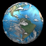 Earth on Black background. Rendered 3d model of Earth on black background with space between Earth and Clouds royalty free illustration