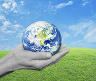 Earth in black and white hands over green grass with blue sky an Royalty Free Stock Images