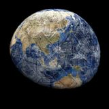 Earth blended into Yen sphere Stock Photography