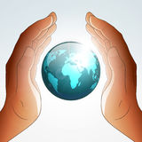Earth blessing by hands. Vector eps 10 illustration Stock Photography