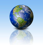 Earth on blue background Stock Photo