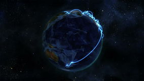Earth with blue connections turning on itself with Earth image courtesy of Nasa.org stock footage