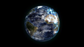 Earth with blue connections turning on itself with moving clouds with Earth image courtesy of Nasa.o. Rg without stars stock footage