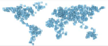Earth of blue cubes Stock Image